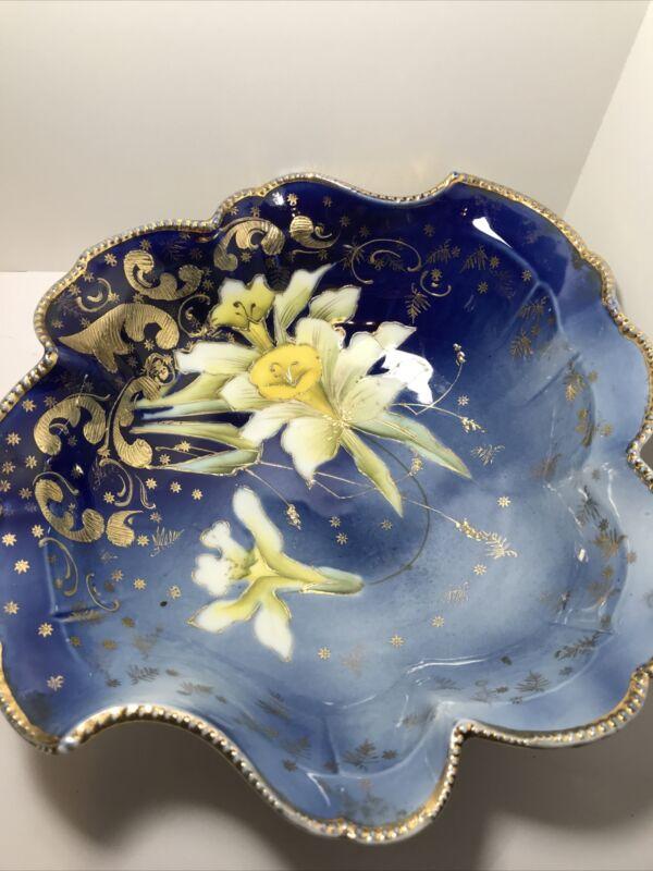 Antique Saxony German Flow Blue Pircelain Daffodil Bowl