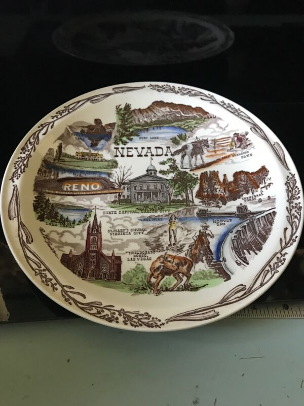 Vernon Kilns Pottery Souvenir NEVADA Hand Colored Plate