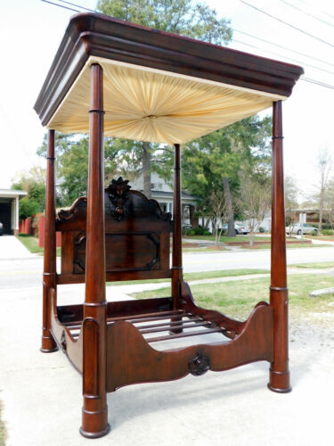 Monumental Walnut Victorian Tester Bed~~Signed C Lee