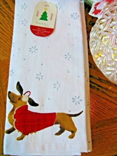 New Nicole Miller Christmas Snowflakes & Dachshund Kitchen Towels Set of 2