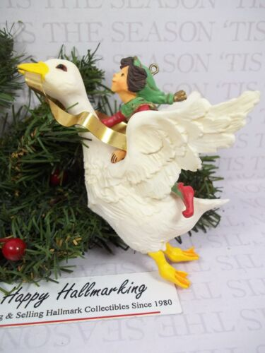 Hallmark 1981 Christmas Fantasy Ornament  Goose with Elf  (Large ornament)