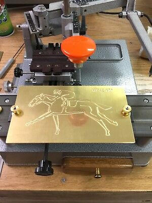 Horse With Jockey Solid Brass Master Engraving Plate For New Hermes Font Tray