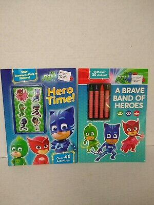 PJ Masks Coloring Activity Book Crayons 30 Stickers Glow in the Dark - Glow In The Dark Crayons