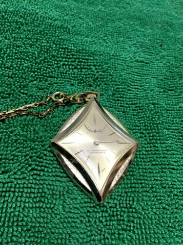 Vintage Sheffield Swiss Made Wind Up Pendant Watch Necklace, Works, Women