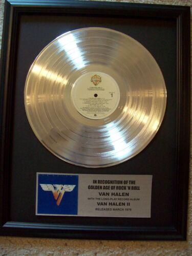 Van Halen II Platinum White Gold LP Record +Mini Album Disc Not a Award in frame