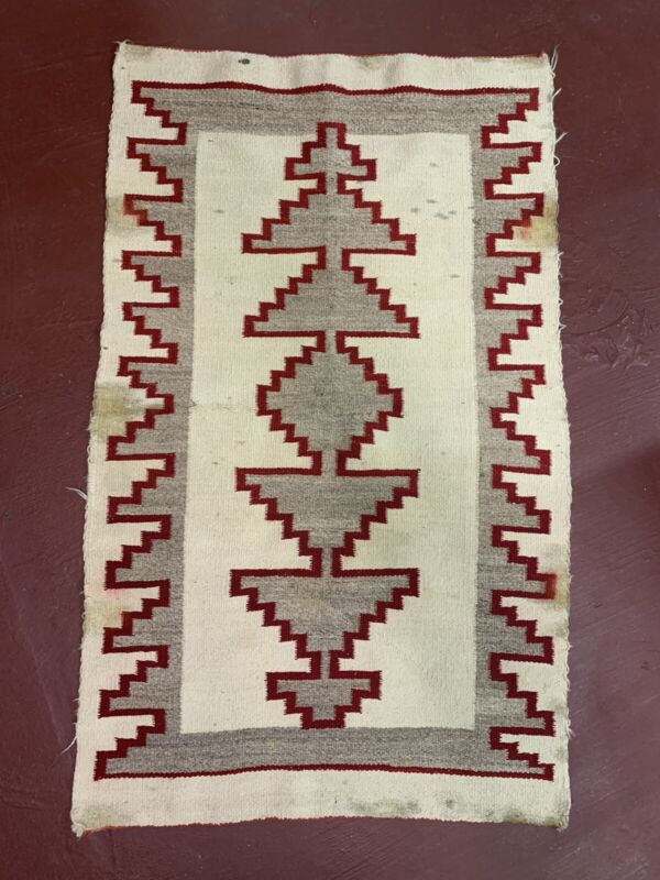 ANTIQUE LARGE NAVAJO RUG ANTIQUE 57x35 native american Indian transitional VTG