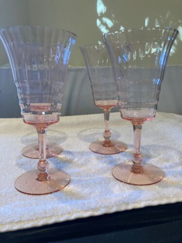 Vintage Set of 4 Ribbed Pink Depression Wine or Champagne Glasses 7 1/4""