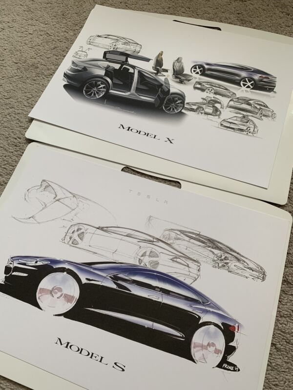 Tesla Model X And Model S Official Launch Night Posters Design Sketch