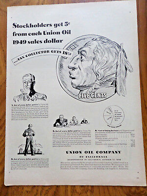 1950 Union Oil 76 Ad Stockholders get 5 Cents from each Union Oil 1949 Sales $