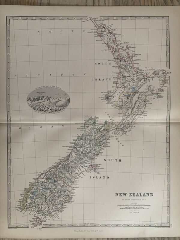 1868 New Zealand Original Hand Coloured Antique Map by Johnston