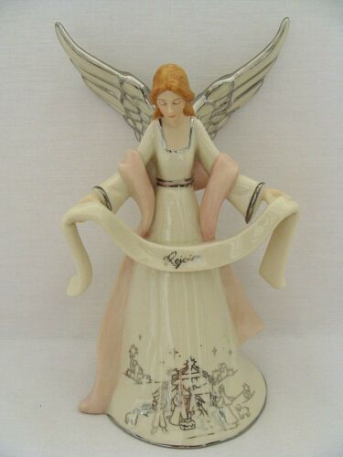 Hawthorne Village Silver Blessings Nativity Rejoicing Angel Figurine A5136