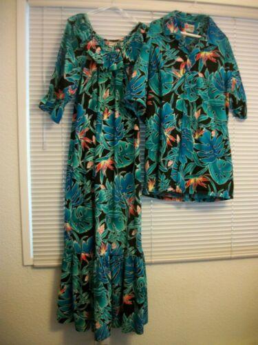Hilo Hattie His Hers Matching Wedding Hawaiian Med Muu Muu Dress Aloha Shirt 2X