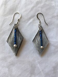 Handmade Sealskin, Deer Hide, and Blue Jay Earrings