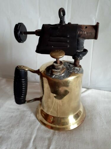 """Antique Vintage Brass """"The Turner Brass Works"""", Sycamore, IL Blow Torch"""