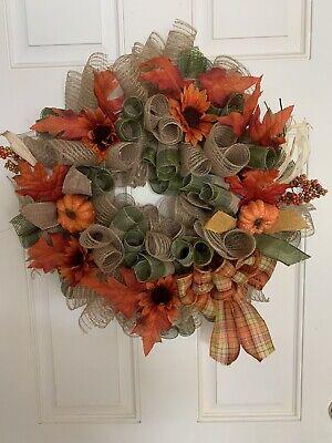 deco mesh fall farmhouse wreath 24x24 5in Deep Premium Ribbon And Wreath