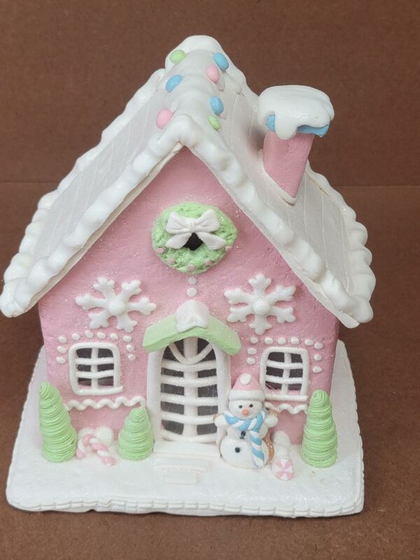 Pastel Pink Lit Gingerbread House by Valerie Pink