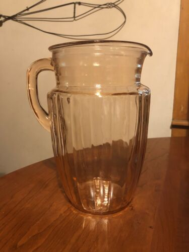 Vintage Anchor Hocking Pink Depression Glass Pitcher Pillar Optic Pattern