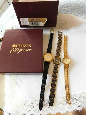 Vintage Lot 3 Citizen Women's Watches, 1 Box, Dressy to Causal