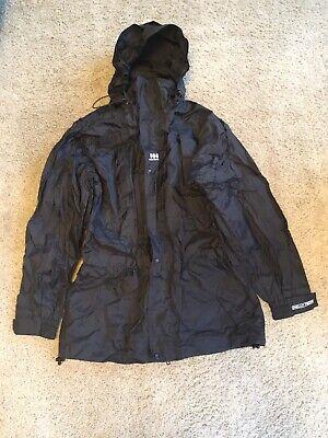 HELLY HANSEN Raincoat Black Hooded Jacket Packable Men's Size Medium
