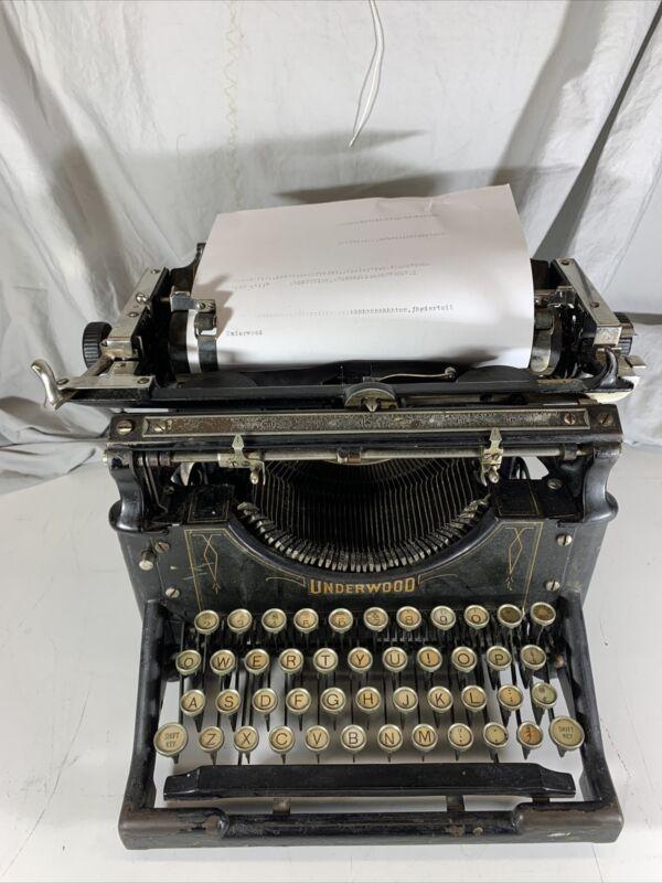 Rare Antique Working Underwood Typewriter 4 or 5 S/N 81710-5 1905