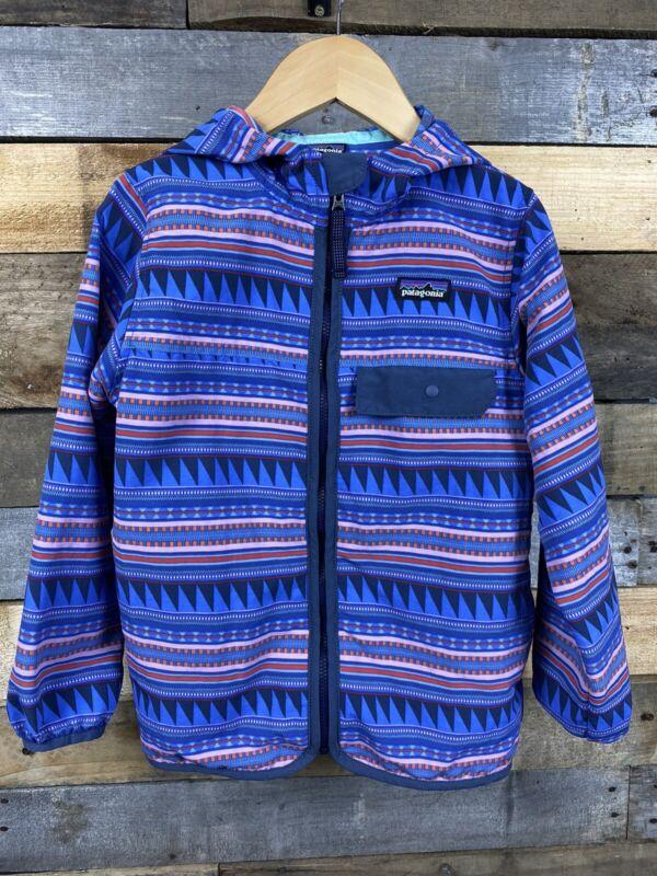 Patagonia Girls Purple Blue Worn Wear Windbreaker Jacket XS Pockets Hood