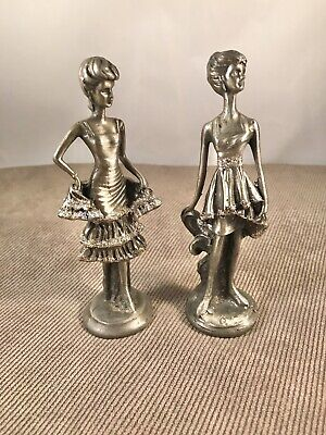 "Pewter Lady Figurines With Sparkles  Approximately 5"" Tall"