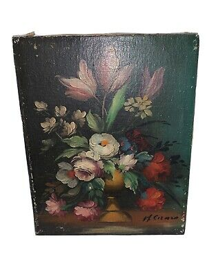 Vintage Floral Canvas Painting Signed