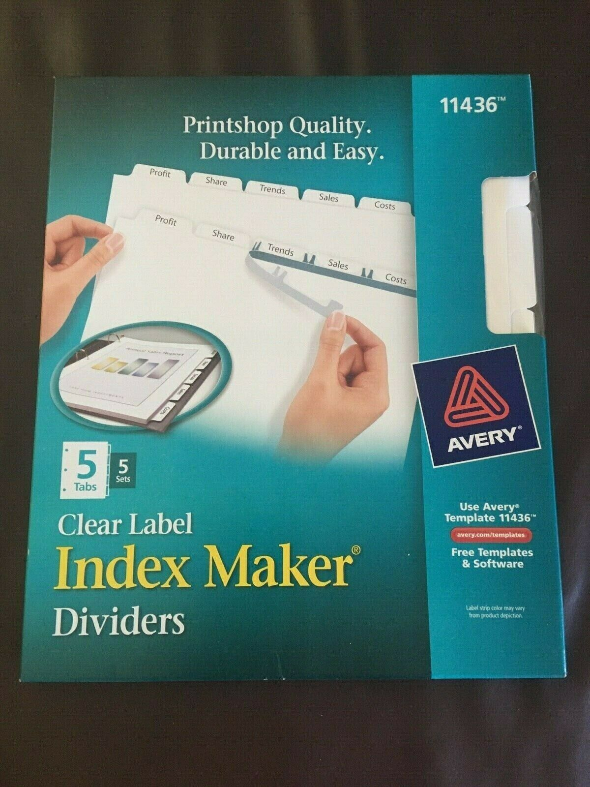 AVE11436 - Print amp; Apply Clear Label Dividers w/White Tab