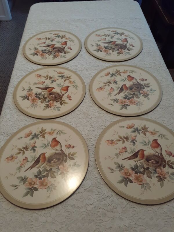 "Pimpernel Round Acrylic Placemats Birds And flowers  Vintage 10"" Set Of 6 In Box"