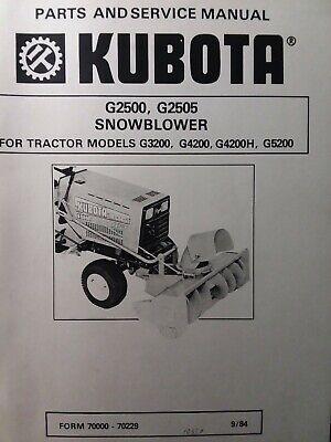 Kubota G3200 Garden Tractor Snow Thrower Implement G2500 Service Parts Manual