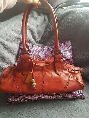 HIDESIGN BY RADLEY QUITE LARGE RED GENUINE LEATHER SHOULDER BAG