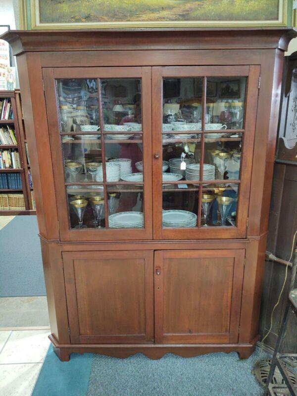 Large Antique Wood 4 Door Corner Cabinet With Crown Molding