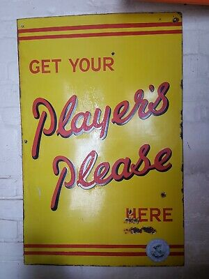 "Vintage Enamel ""Players Cigarettes Tobacco Advertising Sign Pub Bar Metal"