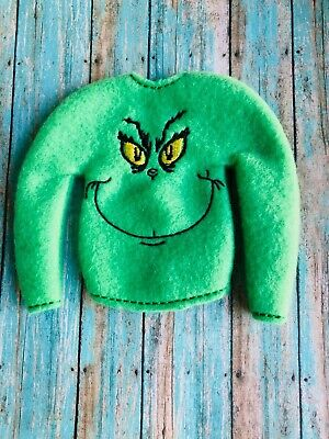 GRINCH CHRISTMAS ELF DOLL CLOTHES SWEATER (only) ALSO Fits 12 in Dolls
