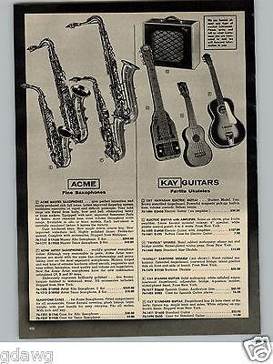 1956 PAPER AD Kay Electric Hawaiian Guitar Favilla Ukulele Ledoux Clarinet Flute