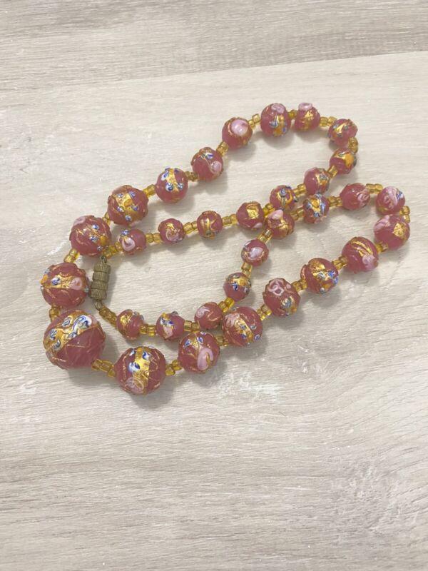 Vintage Venetian Italian Wedding Cake Art Glass Pink Necklace