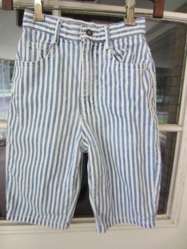 1980s/90s Lee jeans blue/white stripe denim hi waist bermuda shorts kids sz 10 M