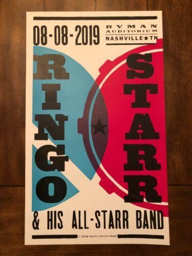 Ringo Starr 2019 Hatch Print Poster - Nashville, TN - Ryman Auditorium-2nd night