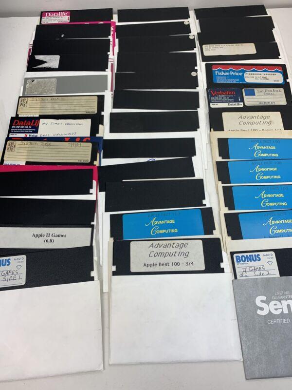 Lot Of 35 Flexible Discs Apple II Games, Advantage Computing, NY Times Crossword