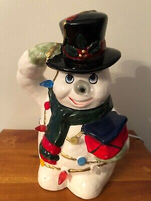 Ceramic Snowman Saluting Wrapped In Christmas Lights - Nose Lights Up Too