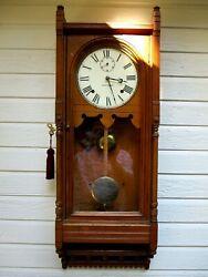 Antique Seth Thomas  Queen Anne Oak Wall Clock