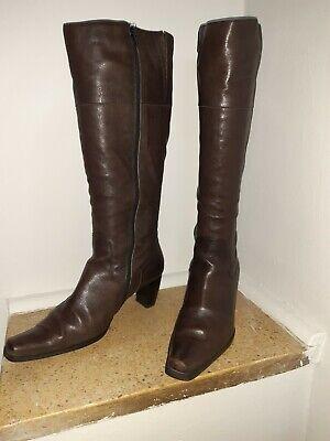 Damen Stiefel, Leder, Farbe braun, kniehoch, Gr. 39,