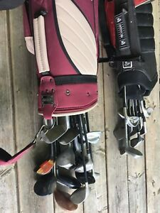 Two sets of golf clubs and bags.