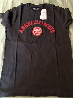 Mens Abercrombie T-shirt Size Small Black And Red