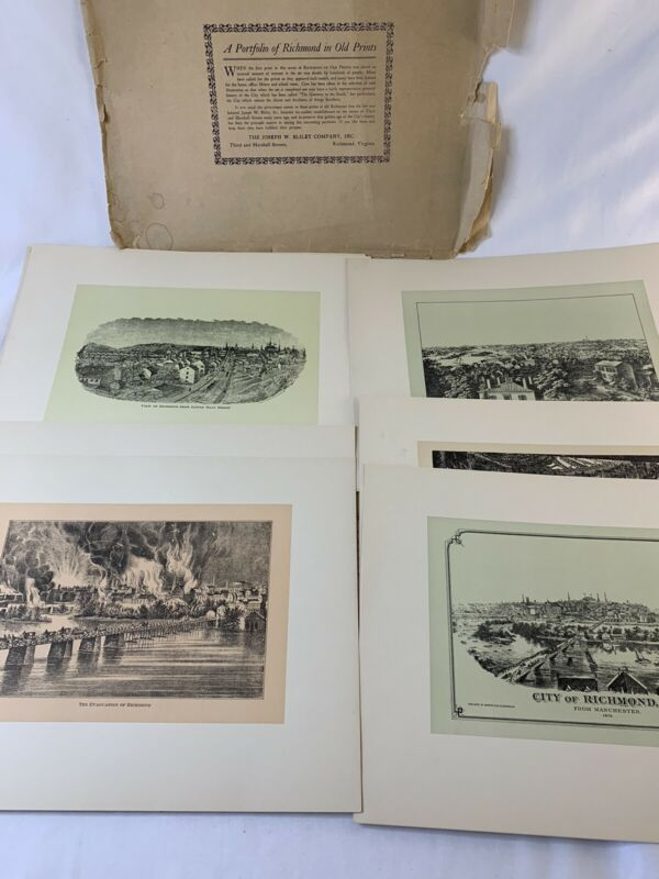 Vtg Portfolio of Old Richmond 10 Prints Virginia: Church Hill, Canal, Manchester