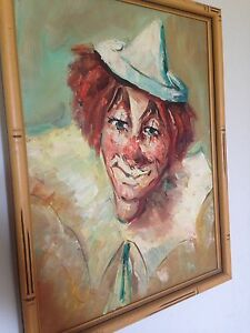 Pre 1950s clown painting oil on canvas