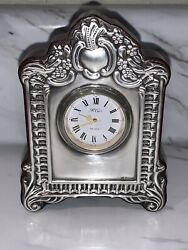 Vintage R.Carr Sterling Silver And Mahogany Desk Clock- Made In England-