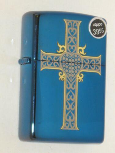 New Zippo USA Windproof Oil Lighter 12778 Christian Heart & Cross Sapphire Case