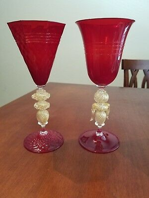"SIGNED CENEDESE VENETIAN MURANO GLASS RUBY RED GOLD GOBLETS 9 1/4"" SET OF 2 RARE"