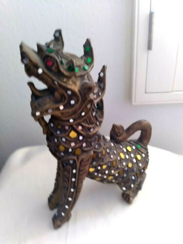 "Thai Siamese Handmade Glass decorations Wood Carved Foo Dog Figurine 9 1/2"""